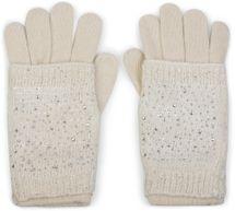 styleBREAKER Damen Strickhandschuhe, Handschuhe, abnehmbare Manschette mit Strass und Pailletten, doppelter Bund 09010006 – Bild 6