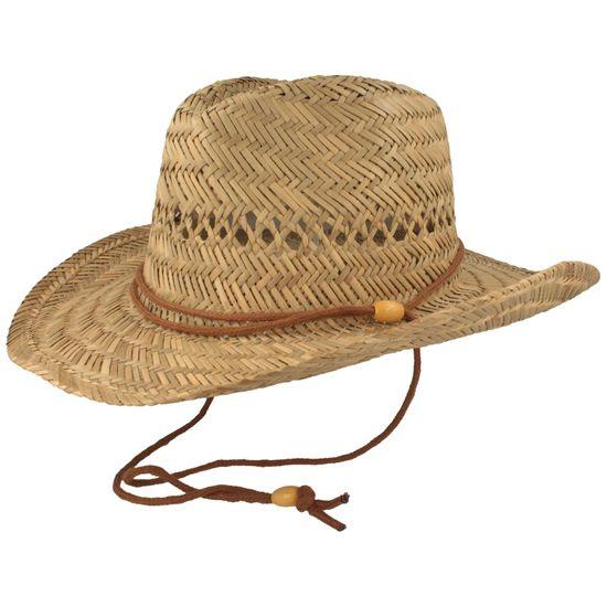 Luftiger Stroh-Cowboyhut mit Kinnband