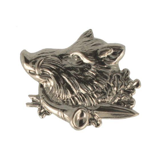 Hut-Breiter Hutanstecker Wildschweinkopf mit Horn und Eichelblättern