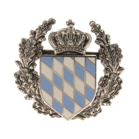 Hut-Breiter Hutanstecker kleines bayerisches Staatswappen mit Ehrenkranz