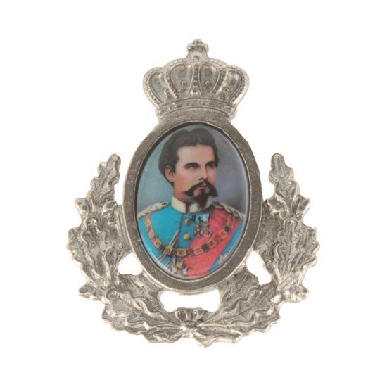 Hut-Breiter Hutanstecker König Ludwig II. mit Ehrenkranz
