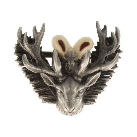 Hut-Breiter Hutanstecker hochwertiger Hirsch mit Grandeln aus Zinn