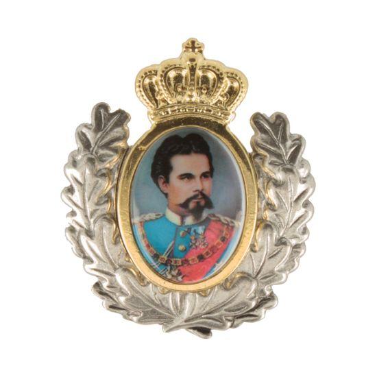 Hut-Breiter Hutanstecker König Ludwig II. mit goldenem Einsatz und Ehrenkranz
