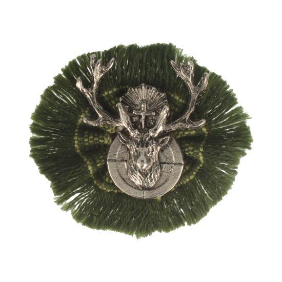 Hut-Breiter Hutanstecker Hirschkopf mit Kreuz und Zielscheibe auf Rüsche
