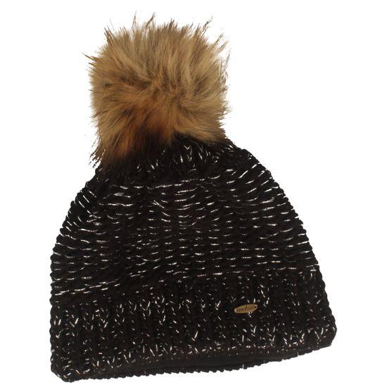 Starling glitzernde Strickmütze mit breitem Fleece-Band und voluminösem Bommel