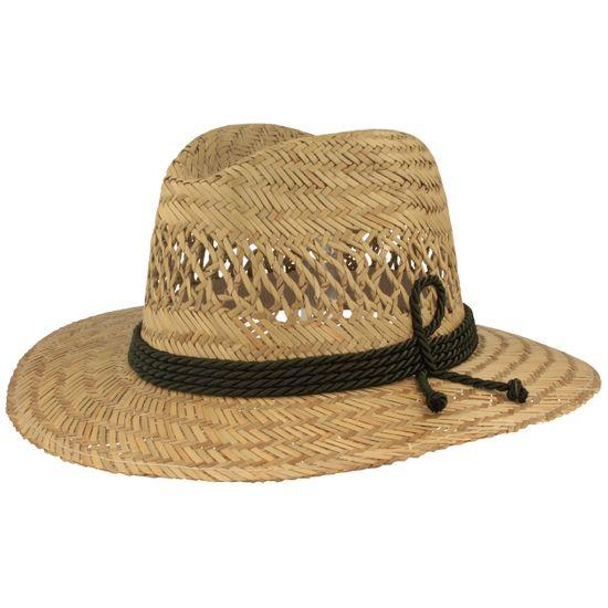 Hut-Breiter luftiger leichter Stroh Trachtenhut Traveller aus 100% Stroh mit 4-Fach Kordel-Garnitur