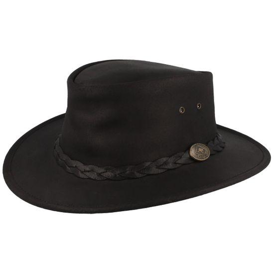 Scippis Lederhut Cowboyhut Bushman aus 100% Rindsleder mit geflochtenem Hutband und UV-Schutz 50+