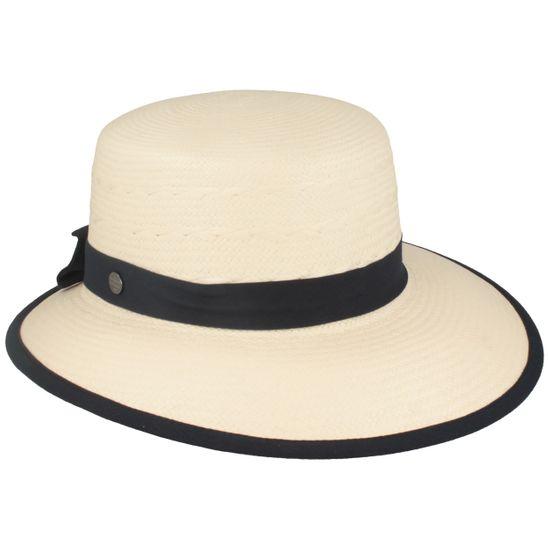 Hut-Breiter Panama Schute Strohhut mit Ripsband-Garnitur und modischer Schleife und UV-Schutz 50+