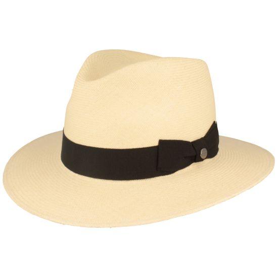 Hut-Breiter sehr hochwertiger Original Montechristi Panama Hut aus 100% Panamastroh mit feiner Ripsband-Garnitur mit seitlicher Schleife