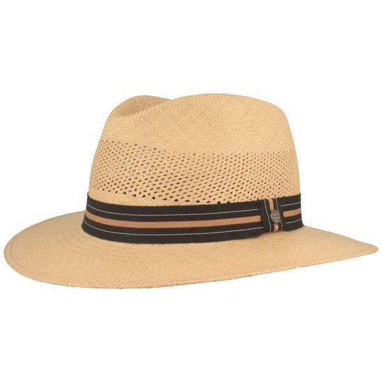 Hut-Breiter Original Netz Panamahut mit mehrfarbiger Ripsband-Garnitur