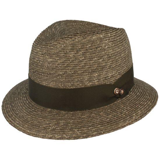 Mayser hochwertiger Strohhut Trachtenhut mit Ripsband-Garnitur und UV-Schutz 80
