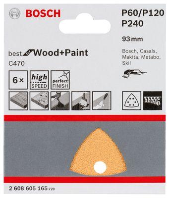 Bosch Schleifblatt-Set für Dreieckschleifer 93 mm K60 120 240 6erPack 2608605165 – Bild 2