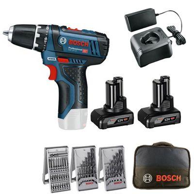 Bosch Akku-Bohrschrauber GSR 12V-15 Professional Set + Akku-Lampe GLI 12V-300 – Bild 2