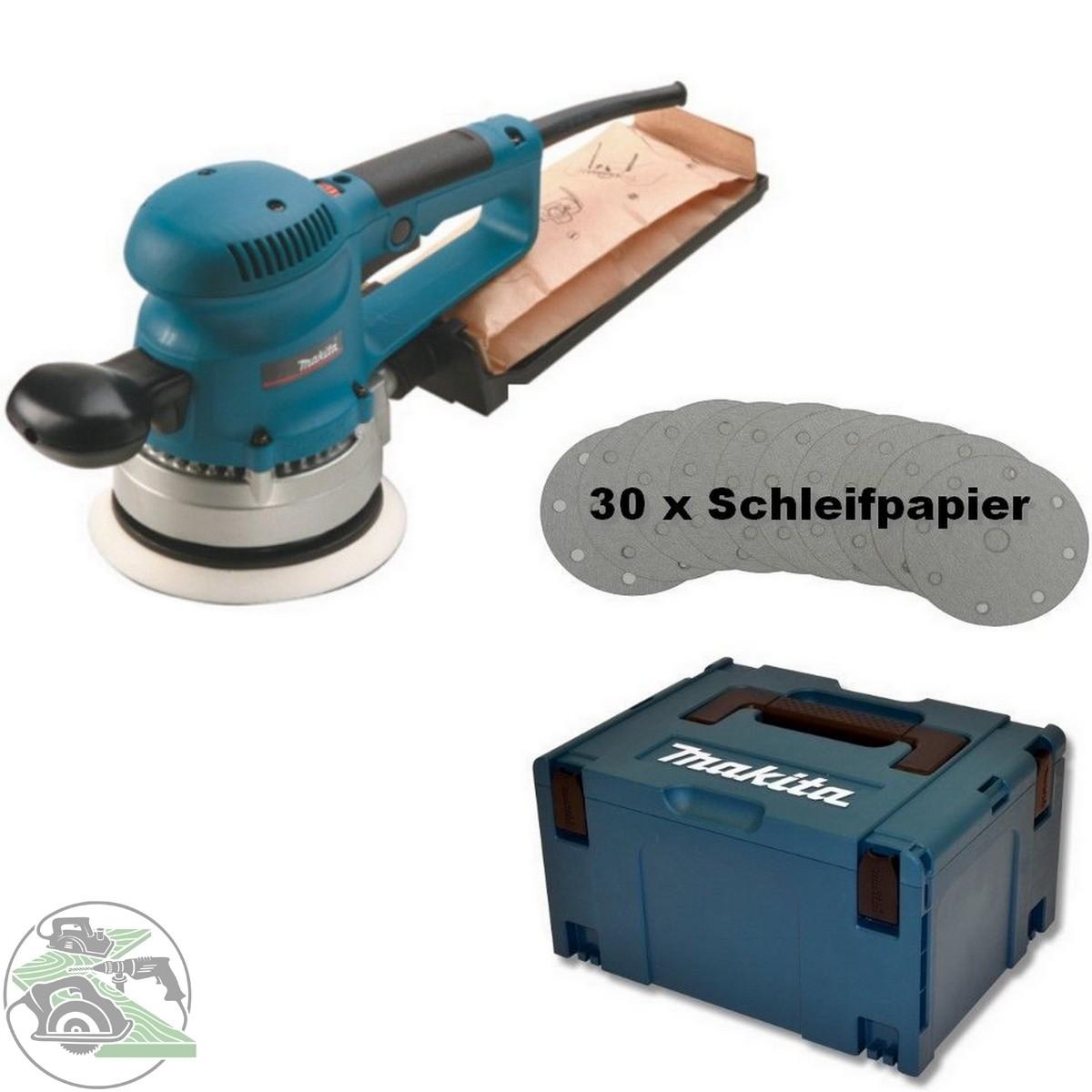 makita exzenterschleifer bo6030jx 150 mm inkl. 30 tlg. schleifpapier