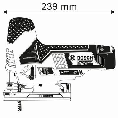Bosch Akku-Stichsäge GST 12V-70 Solo in L-Boxx inkl. Stichsägeblätter 06015A1002 – Bild 3