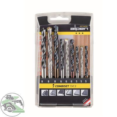 Alpen Bohrer Kassette TM9 Metall Stein Holz 9tlg. Kunststoffkassette 802102100