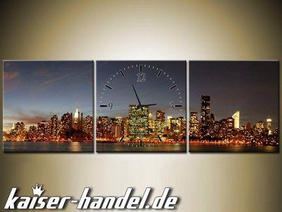 Leinwandbilder Wanduhr Designer Wandbild Leinwand Bild Küche Uhr Skyline City – Bild 1