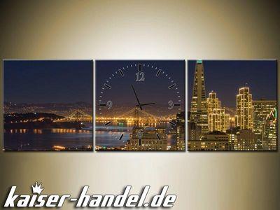 Leinwandbilder Wanduhr Designer Wandbild Leinwand Bild Küche Uhr Skyline City – Bild 14