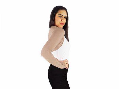 Damen Bolero Bolerojacke Jacke Langarm Top Frauen Cardigan Blazer 34 36 38 40 bol06 – Bild 8