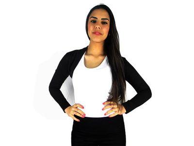 Damen Bolero Bolerojacke Jacke Langarm Top Frauen Cardigan Blazer 34 36 38 40 bol06 – Bild 10