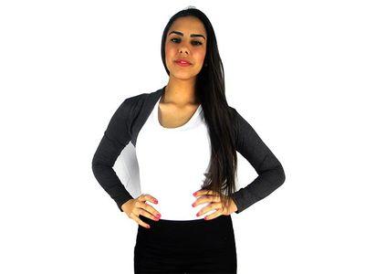 Damen Bolero Bolerojacke Jacke Langarm Top Frauen Cardigan Blazer 34 36 38 40 bol06 – Bild 5