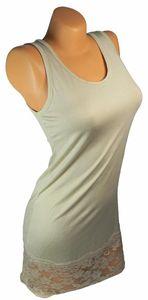 Damen Long Shirt mit Spitze T-Shirt Hemd Tunika Kleid Mini Rock BH Träger ta4 – Bild 3