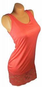 Damen Long Shirt mit Spitze T-Shirt Hemd Tunika Kleid Mini Rock BH Träger ta4 – Bild 6