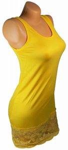 Damen Long Shirt mit Spitze T-Shirt Hemd Tunika Kleid Mini Rock BH Träger ta4 – Bild 9