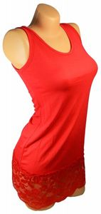 Damen Long Shirt mit Spitze T-Shirt Hemd Tunika Kleid Mini Rock BH Träger ta4 – Bild 22