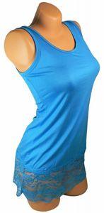 Damen Long Shirt mit Spitze T-Shirt Hemd Tunika Kleid Mini Rock BH Träger ta4 – Bild 20