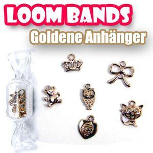 6er Loom Bands Set Gummibänder Box Goldene Anhänger Perle Krone Teddy Kette LB23 – Bild 1