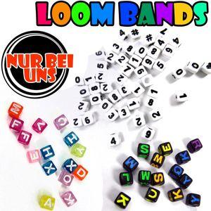 LOOM BANDS Bandz Extra Buchstaben Bastel Armreifen Armband Zahlen Neon 5x5 LB26 – Bild 1