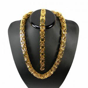 Königskette BRUTAL MASSIV Halskette 61 cm + ARMBAND 23cm Breite 10 mm x 10 mm Goldfarbe kk11-2 – Bild 1