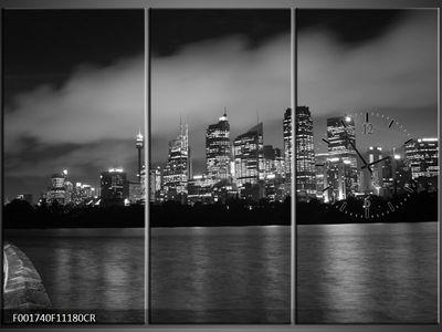 3 Tlg Leinwandbilder Wanduhr City Stadt Großstadt in Nacht Panorama Aussicht Wandbild Leinwand Bild Restaurant Büro Hotel Wohnzimmer Universität Heim Uhr 111x80 Lwb832