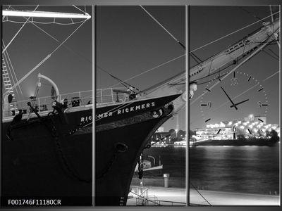 3 Tlg Leinwandbilder Wanduhr Hafen Schiff Panorama Nacht Wandbild Leinwand Bild Restaurant Büro Hotel Wohnzimmer Universität Heim Uhr 111x80 Lwb838