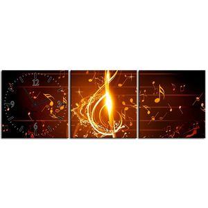 3 teilig Designer Leinwandbild mit Wanduhr Note Konzert Klassische Musik Kunst Bild Musik Pub Club Jazz Soul 90x30 cm lwb944 – Bild 1