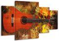4 Teilig Leinwand Bild Bilder Gitarre E-Gitarre Musik Rock Pop Country Jazz Soul 160 x 90 cm wt07-11 001