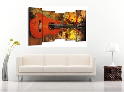 5 Teilig Leinwand Bild Bilder Gitarre E-Gitarre Musik Rock Pop Country Jazz Soul 150 x 80 cm wt07-16 – Bild 2