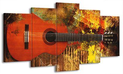 5 Teilig Leinwand Bild Bilder mit Wanduhr Gitarre E-Gitarre Musik Rock Pop Country Jazz Soul 160 x 85 cm wt07-18 – Bild 1