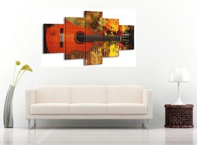 5 Teilig Leinwand Bild Bilder mit Wanduhr Gitarre E-Gitarre Musik Rock Pop Country Jazz Soul 160 x 85 cm wt07-18 – Bild 2