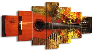 7 Teilig Leinwand Bild Bilder Gitarre E-Gitarre Musik Rock Pop Country Jazz Soul 210 x 100 cm wt07-21 – Bild 1