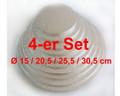 Cakeboard-Set 4tlg., rund silber, extra stark ca. Ø 15/20,5/25,5/30,5cm, Pappe, FunCakes