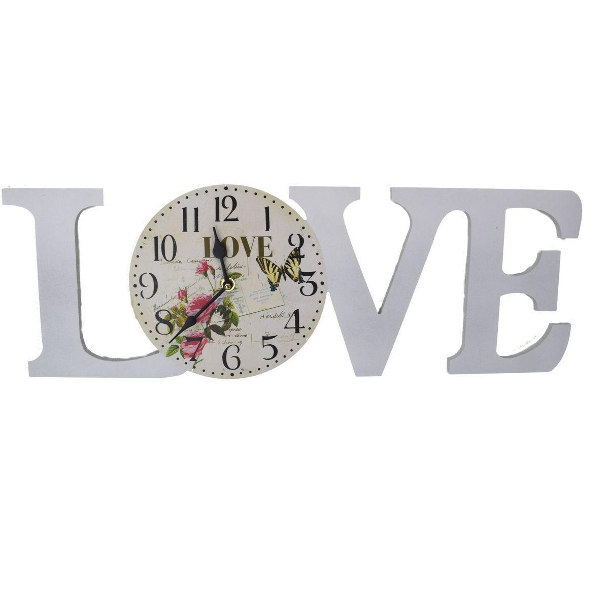 LOVE Schild Deko Dekobuchstaben Buchstaben mit Uhr Wanduhr 60 x 20 cm