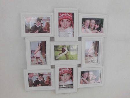 9er Bilderrahmen 9fach Rahmen weiss 53 x 34 cm für 9 Fotos Bilder 10 x 15 – Bild 1