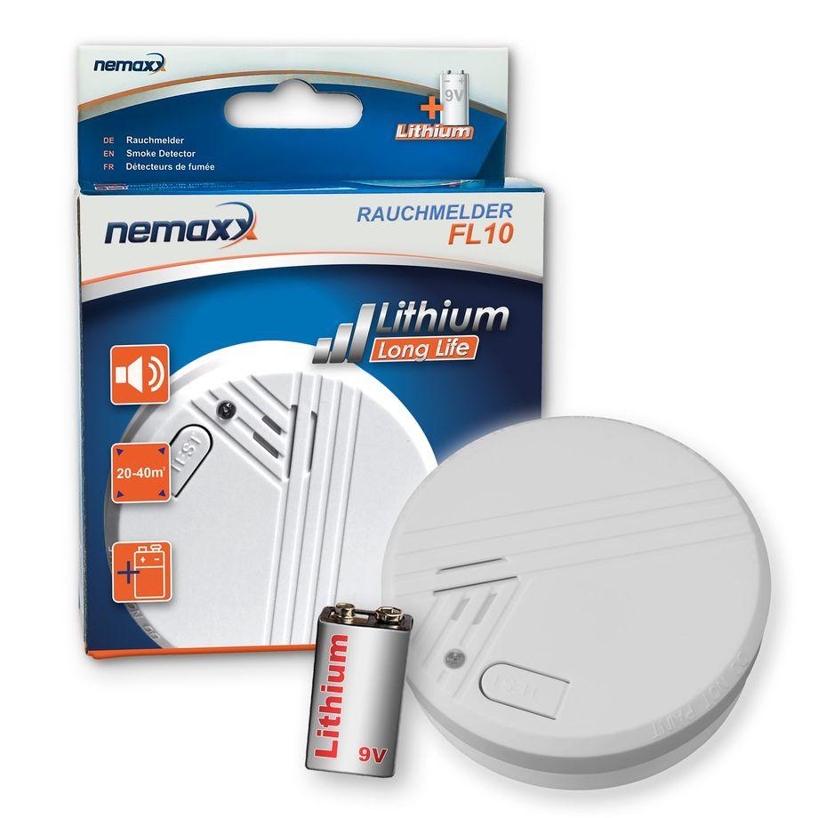 1x Nemaxx FL10 Rauchmelder - hochwertiger Rauchwarnmelder mit langlebiger 10 Jahre Lithium-Batterie - nach DIN EN 14604 – Bild 1