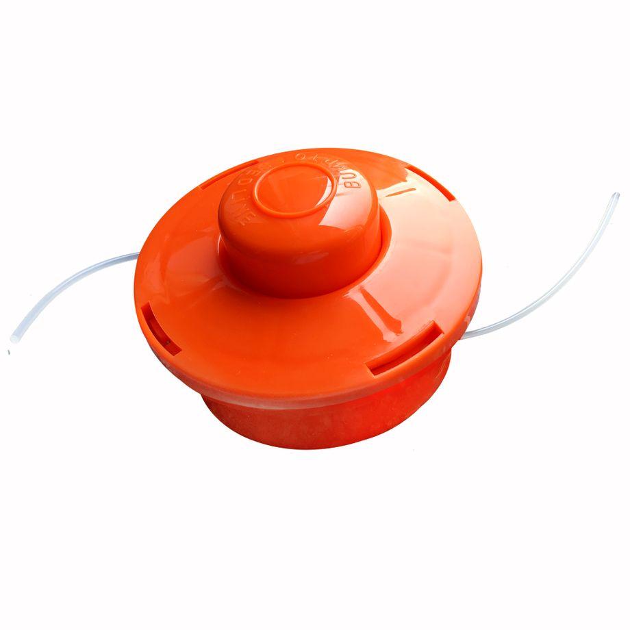 3x NEMAXX FS1 Fadenspule mit Tippautomatik, Doppelfadenkopf für Benzin Motorsense - Rasentrimmer Fadenkopf, Freischneider Grasschneider, Zubehör Ersatz Spule  - Orange – Bild 1