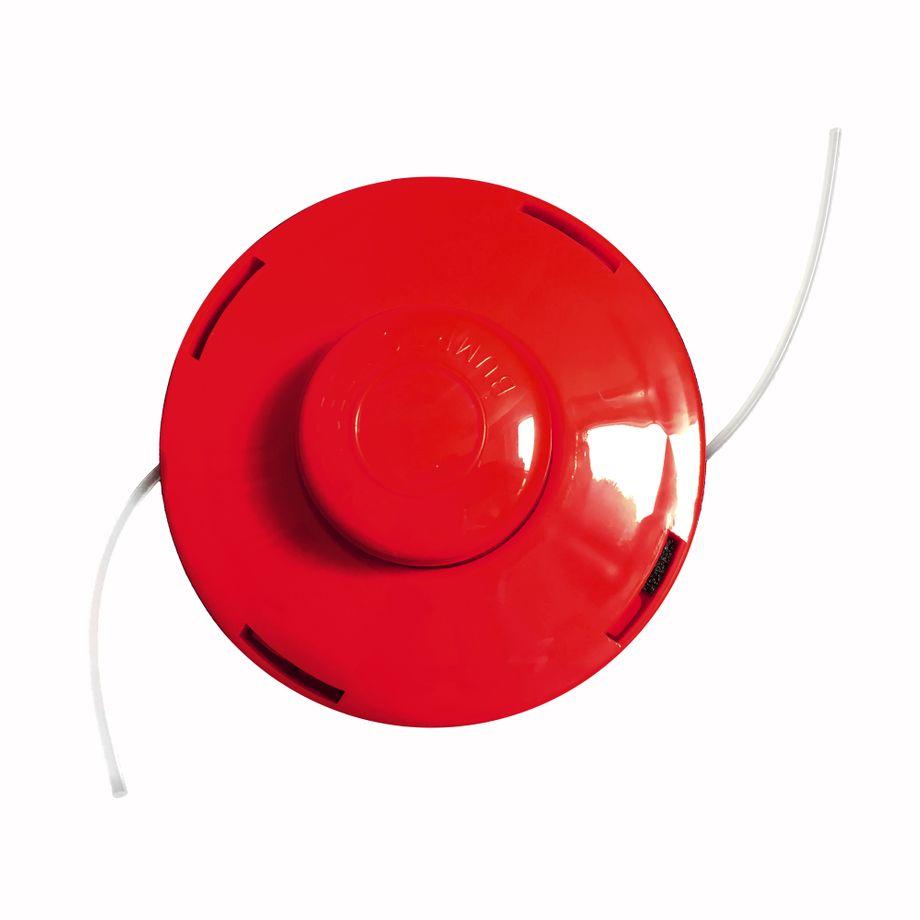 NEMAXX FS2 Fadenspule mit Tippautomatik, Doppelfadenkopf für Benzin Motorsense - Rasentrimmer Fadenkopf, Freischneider Grasschneider, Zubehör Ersatz Spule  - Rot – Bild 1