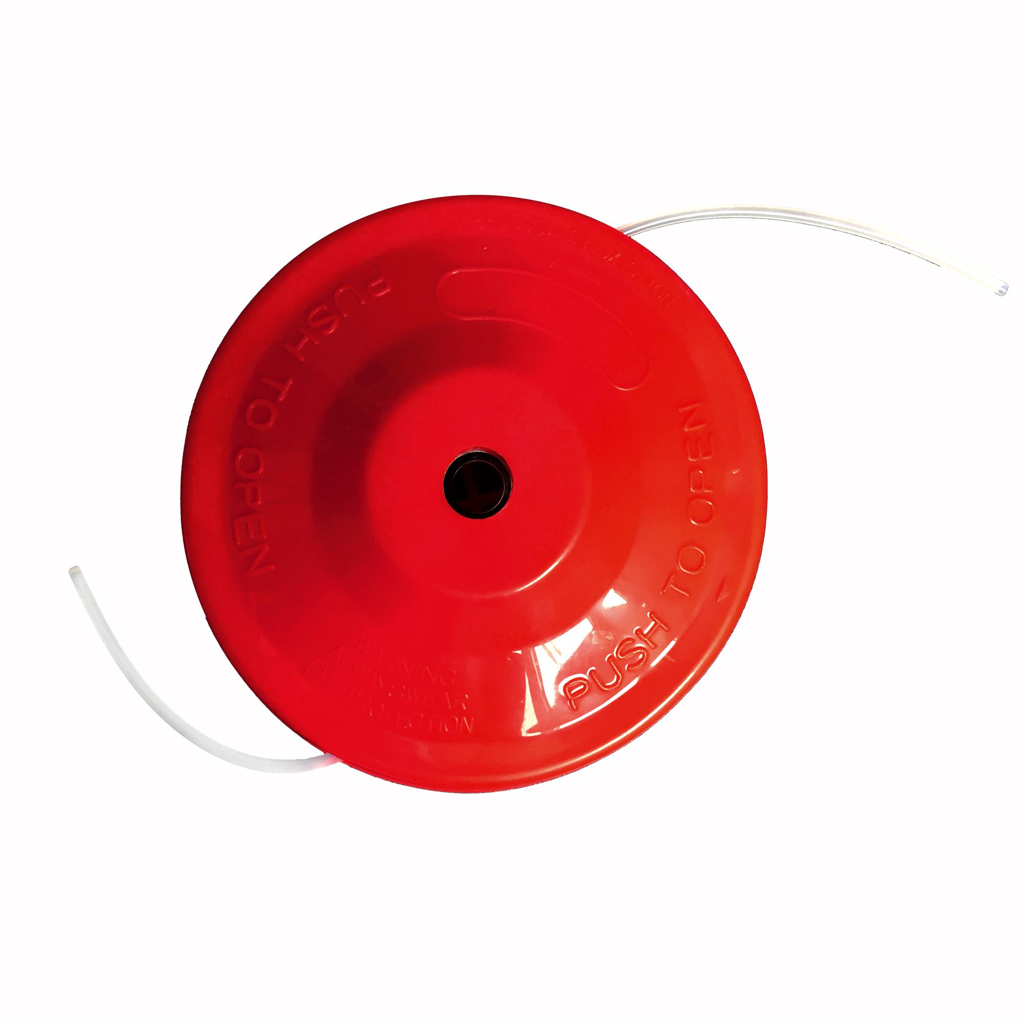 3x NEMAXX FS2 Fadenspule mit Tippautomatik, Doppelfadenkopf für Benzin Motorsense - Rasentrimmer Fadenkopf, Freischneider Grasschneider, Zubehör Ersatz Spule  - Rot