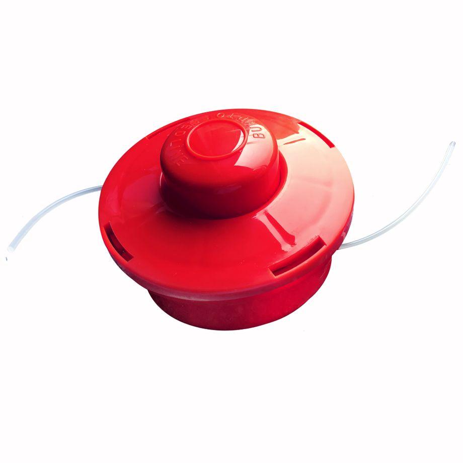 3x NEMAXX FS1 Fadenspule mit Tippautomatik, Doppelfadenkopf für Benzin Motorsense - Rasentrimmer Fadenkopf, Freischneider Grasschneider, Zubehör Ersatz Spule  - Rot – Bild 1