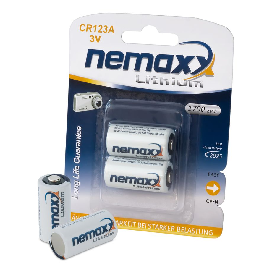 1x Nemaxx 3V Photo Lithium Batterie CR123A Photobatterie mit 1700mAh Fotobatterie Photo-Batterie – Bild 1